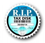 Retro Funny RIP TAX DISC Replacement Design For Classic Vintage Car External Vinyl Car Sticker 75x75mm
